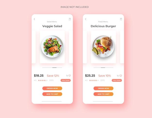 Food page ui design app concept template Premium Psd