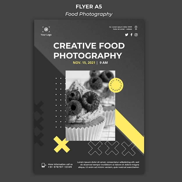 Food photography ad template banner Free Psd