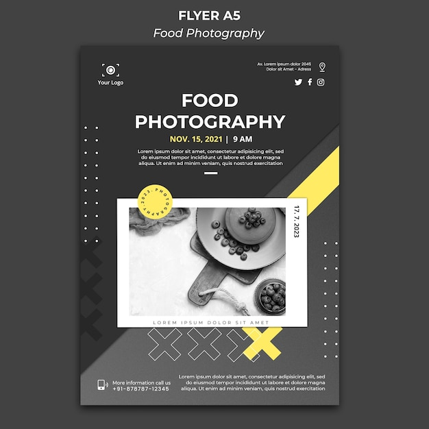 Volantino modello di fotografia di cibo Psd Gratuite