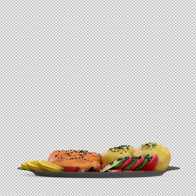 Food on plate 3d render Premium Psd