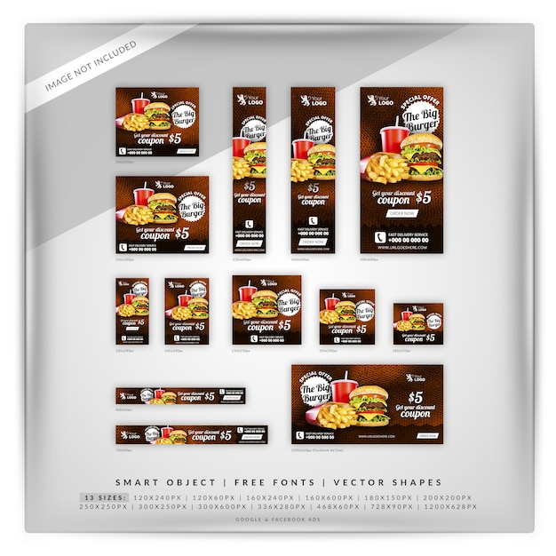 Food & restaurant google banner set Premium Psd