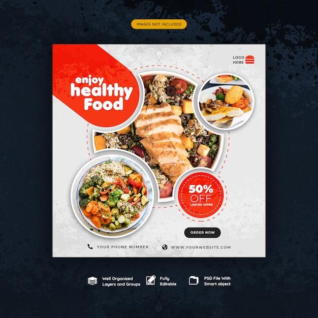 Food and restaurant social media instagram post template Premium Psd