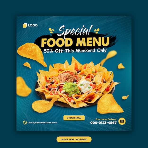 Food and restaurant social media post template Premium Psd