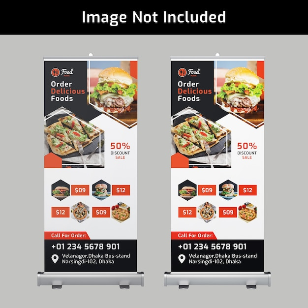 Food roll up banner design psd template for restaurant Premium Psd