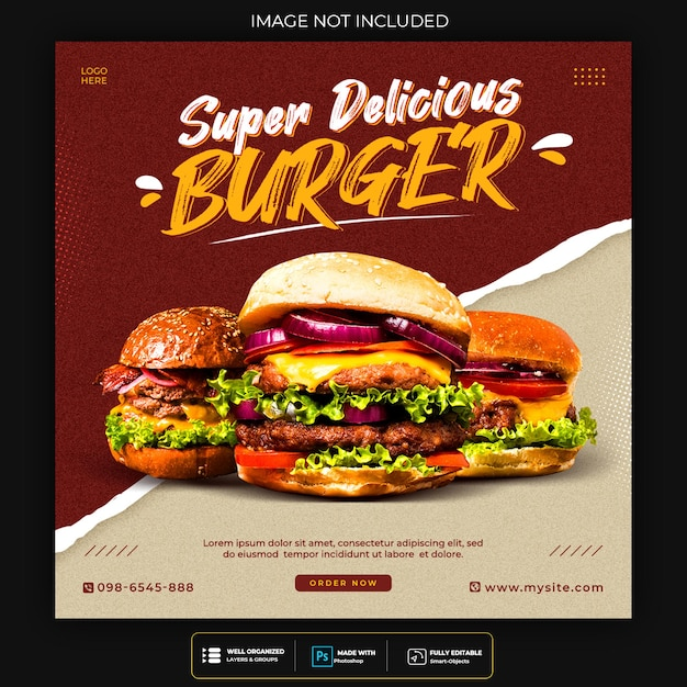 Modello di post banner di social media alimentare Psd Gratuite