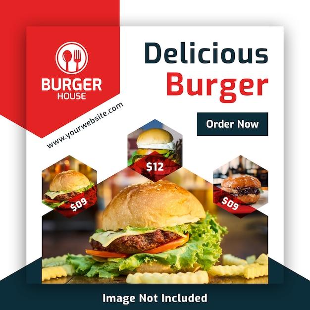 Food social media post banner template for restaurant Premium Psd