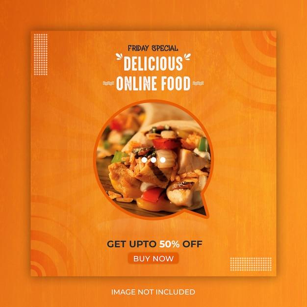 Food social media post or banner template Premium Psd