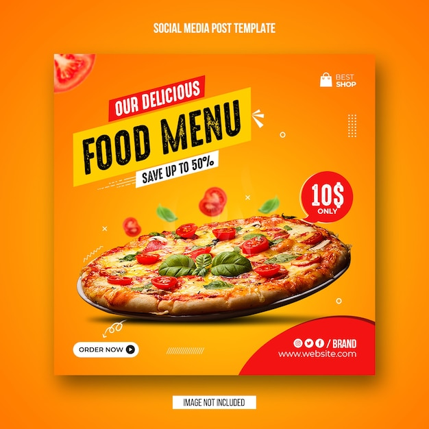 Food social media post and instagram banner design template Premium Psd
