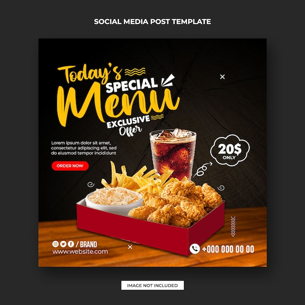 Food social media  post and instagram promotion banner design template Premium Psd