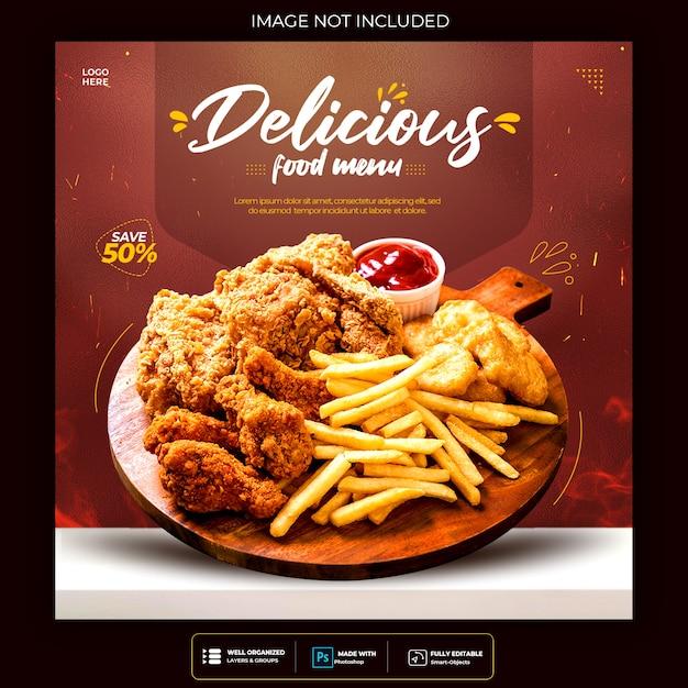 Food social media post template for restaurant fastfood burger Free Psd