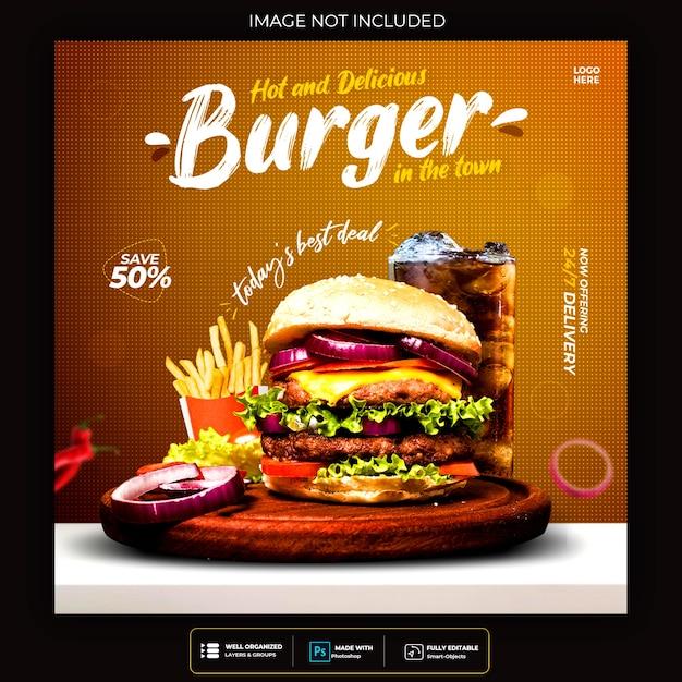 Modello di post sui social media di cibo per hamburger di fastfood ristorante Psd Gratuite