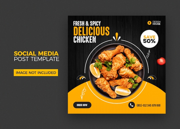 Food social media post template Premium Psd