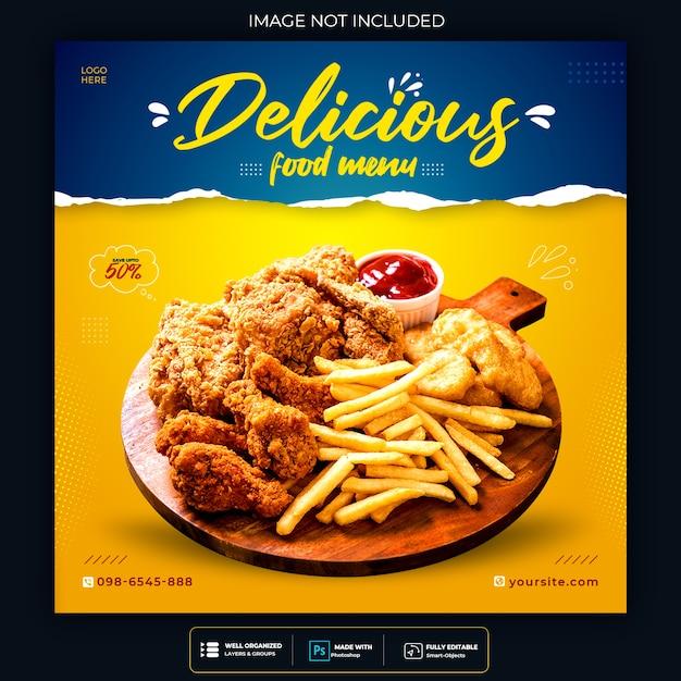 食品ソーシャルメディアプロモーションとバナー投稿デザインテンプレート 無料 Psd