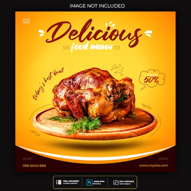 食品ソーシャルメディアプロモーションとinstagramバナー投稿デザインテンプレート Premium Psd