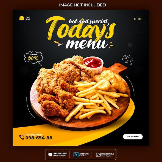 食品ソーシャルメディアのプロモーションとinstagramのバナー投稿のデザイン Premium Psd