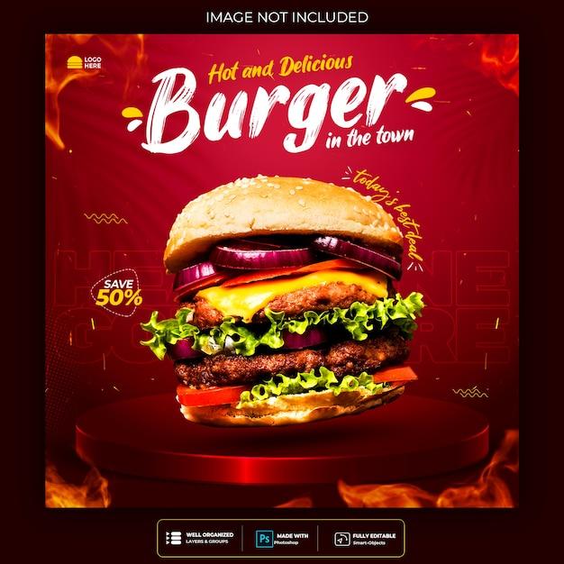 Promozione dei social media alimentari e modello di progettazione di post banner Psd Gratuite