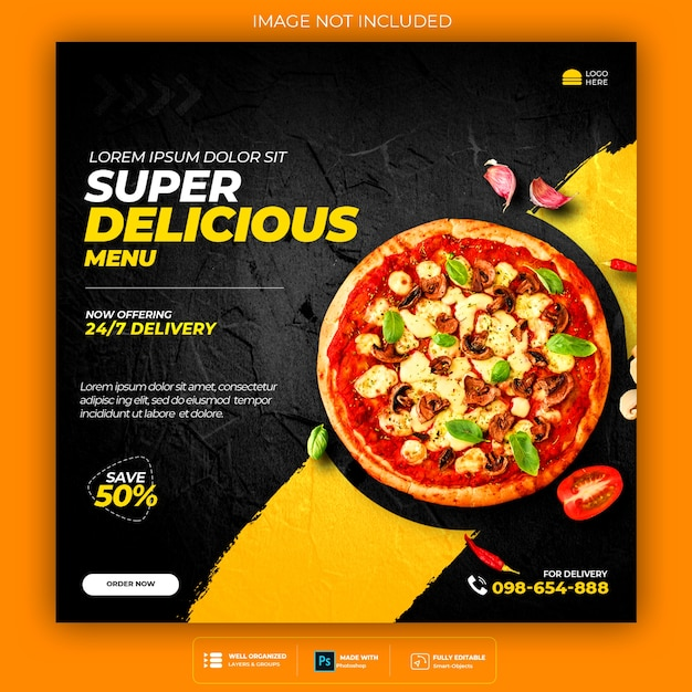 Food social media promotion and banner post design template Free Psd