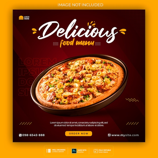 Food social media promotion and instagram banner post design template Free Psd