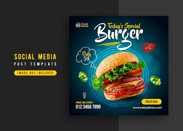Food social media promotion and instagram banner post design template Premium Psd