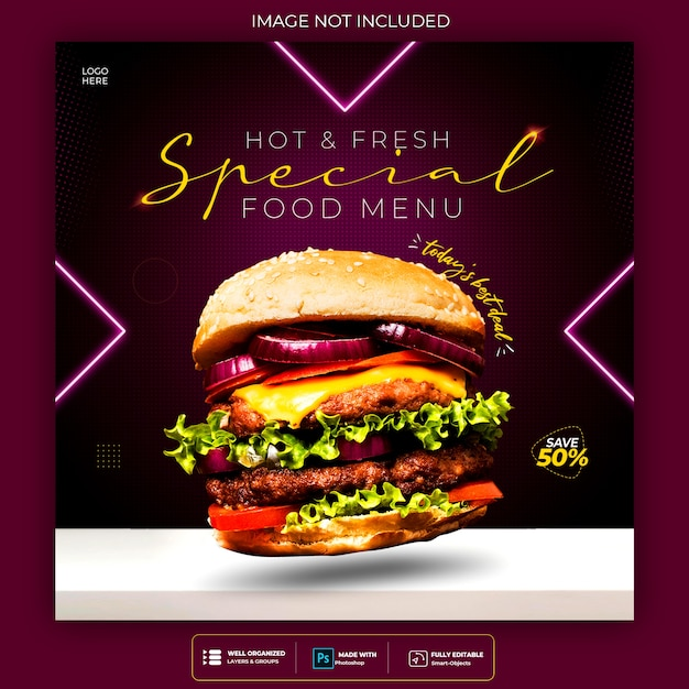 Food social media promotion and instagram neon banner post design template Free Psd