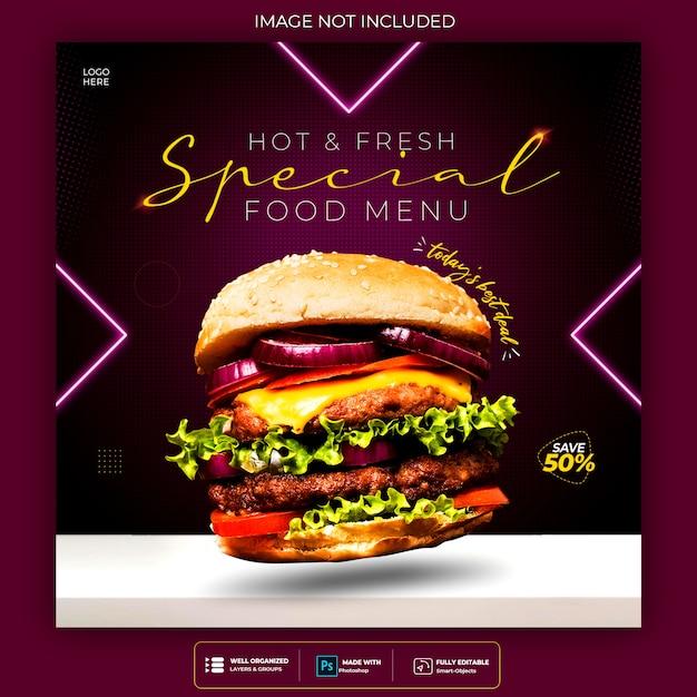 Promozione dei social media alimentari e modello di progettazione di post banner al neon di instagram Psd Gratuite