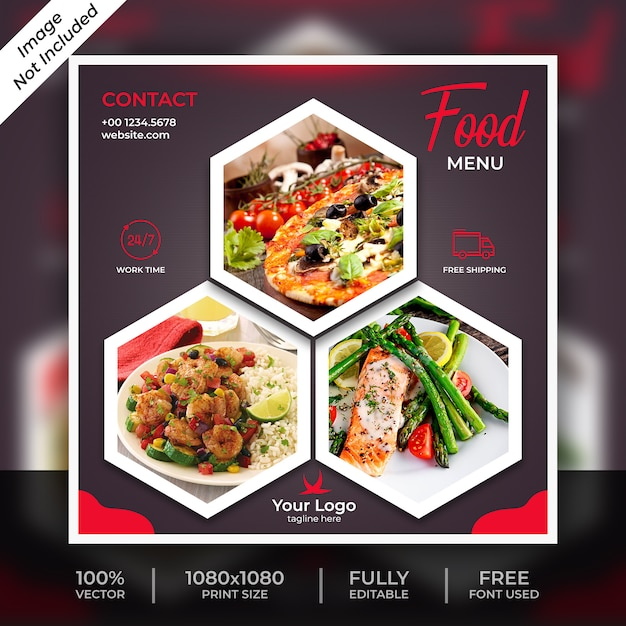 Food social post template Premium Psd