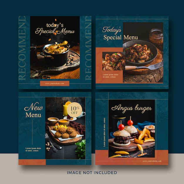 Food square post banner collection Premium Psd