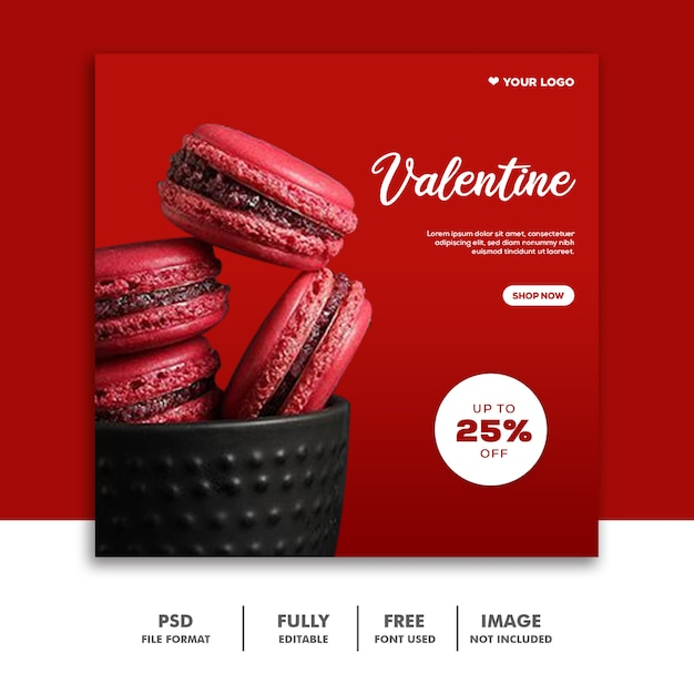 Food template instagram post valentine Premium Psd