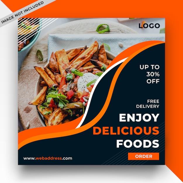 Шаблон сообщения в социальных сетях food Premium Psd