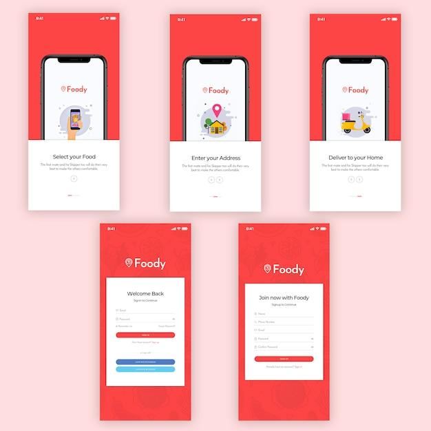 Foody mobile app ui kit Premium Psd