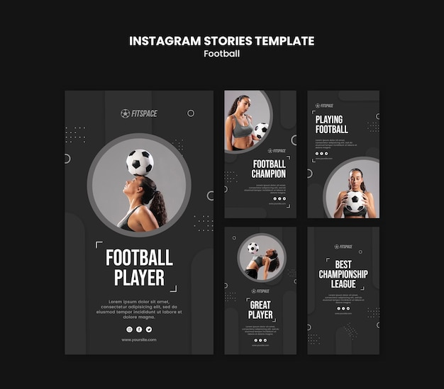 Football ad instagram stories template Free Psd