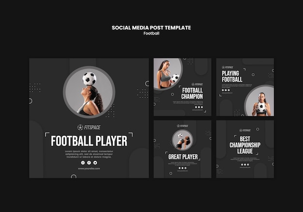 Modello di post sui social media di annunci di calcio Psd Gratuite