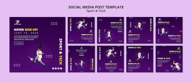 Football girl social media post template Free Psd