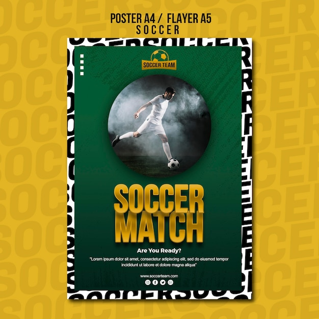 Football match school of soccer poster template Free Psd