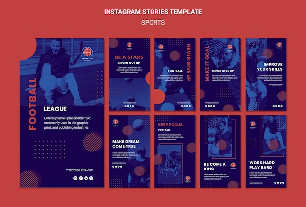 Football player instagram stories template Free Psd