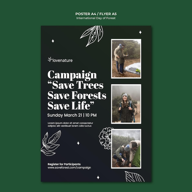 Forest day poster template Free Psd