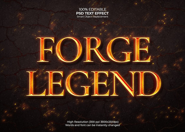 Forge legend text effect Psd Gratuite