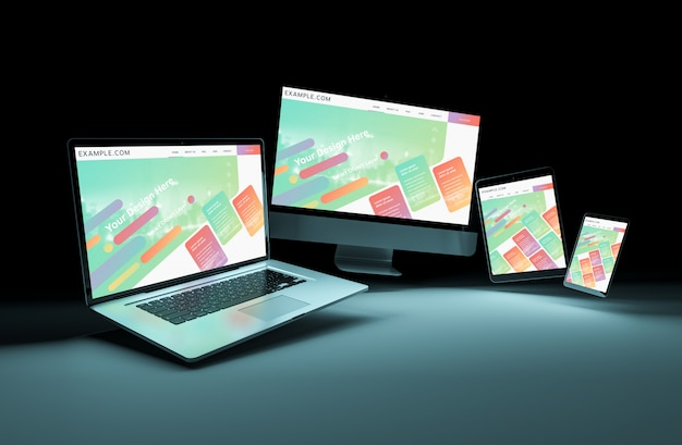 Four devices floating in dark mockup Premium Psd