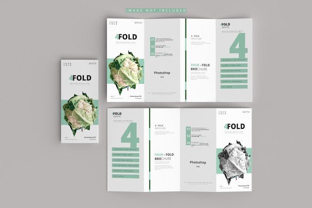 Four-fold brochure mockup Premium Psd