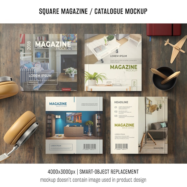 Four square magazine or catalogue mockups with still life Free Psd