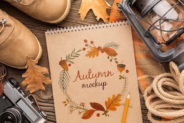 Frame of autumn objects and notebook Free Psd