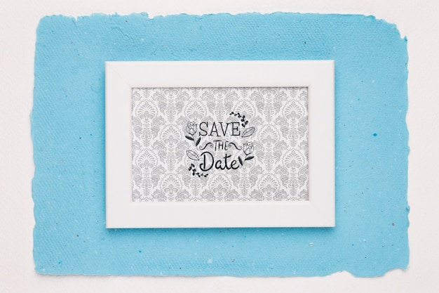 Frame on blue background save the date mock-up Free Psd