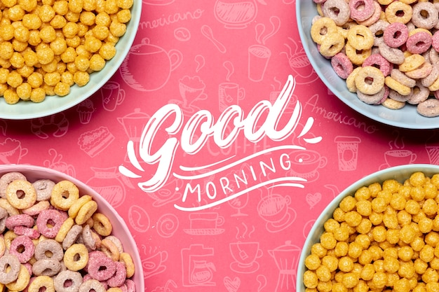 Frame of bowls with cereals on table Free Psd