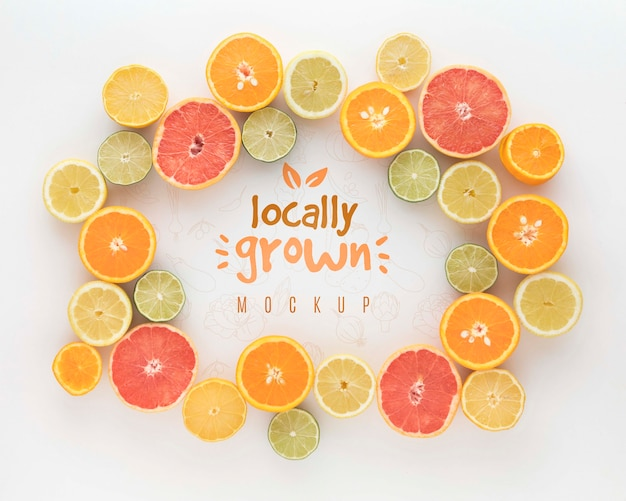 Frame of citrus fruits Free Psd