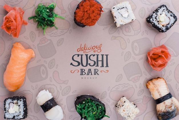 Frame of deslicious sushi rolls Free Psd