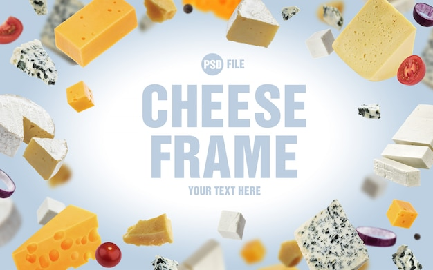 Frame made of different cheeses Premium Psd