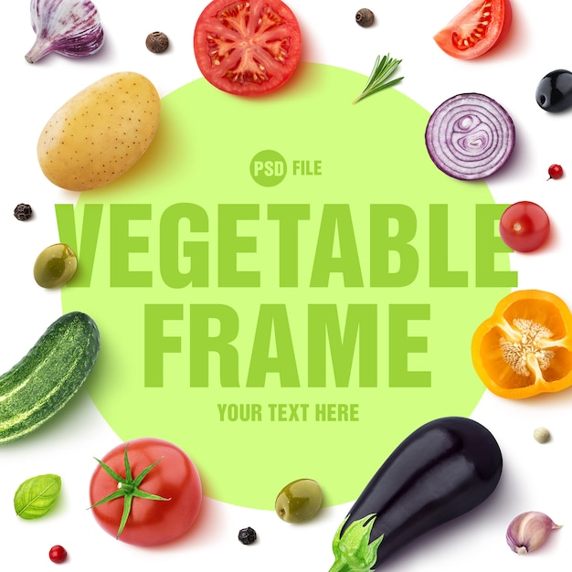 Frame made of different vegetables Premium Psd