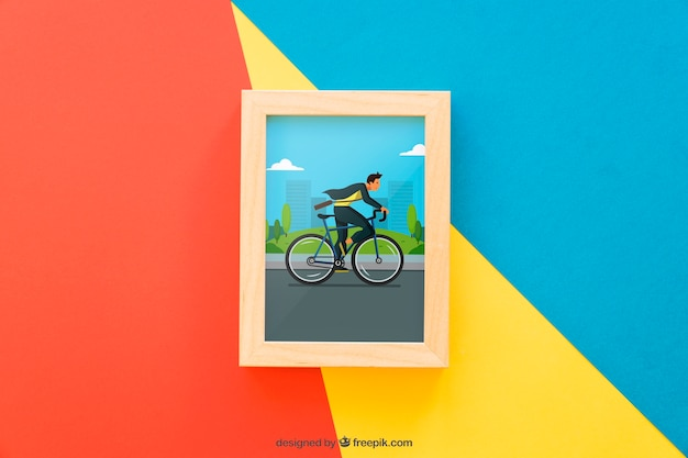 Frame mock up on colorful background Free Psd