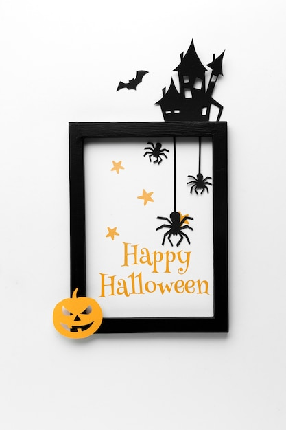 Frame and mock-up for halloween day Free Psd