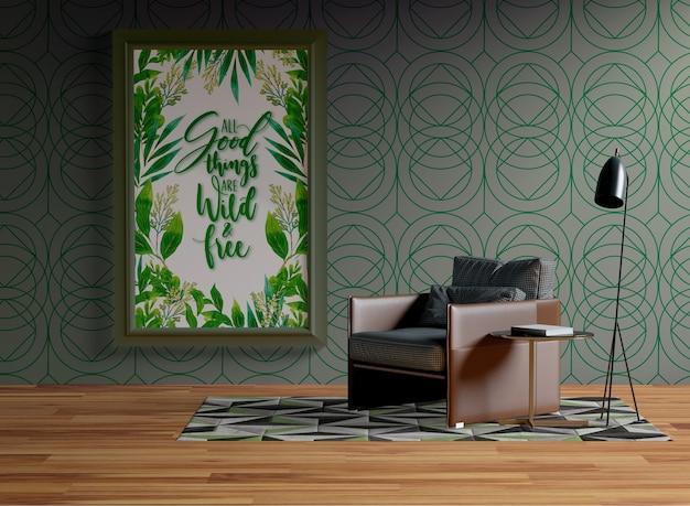 Каркас макета висит на стене рядом с креслом Бесплатные Psd